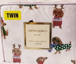 New Designer Cynthia Rowley Doggie Flannel Sheet S